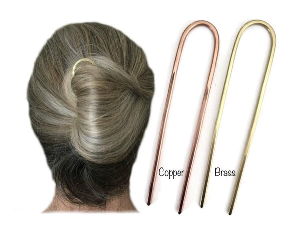 Classic U Shape Hair Fork for Thick Hair | Copper or Brass Metal