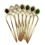 Gemstone Decorative Copper Hair Fork for Medium, Thick or Curly Hair