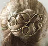 Elegant Hair Bun Holder Brass