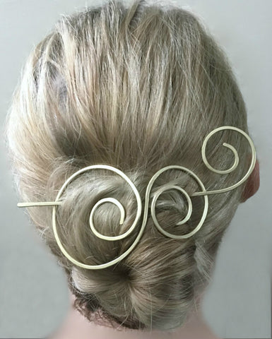 Circles Hair Barrette with Hair Stick