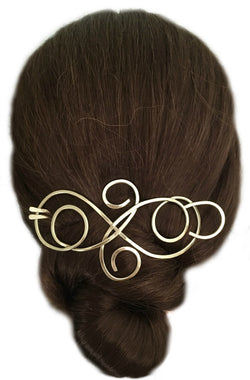 Elegant Flourish Hair Barrette Brass