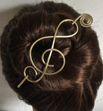 Music Hair Barrette Brass