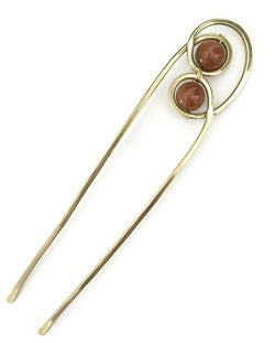 Gemstone Hair Fork Brass Double Goldstone