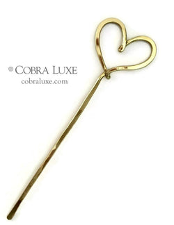 Love Heart Hair Stick Brass