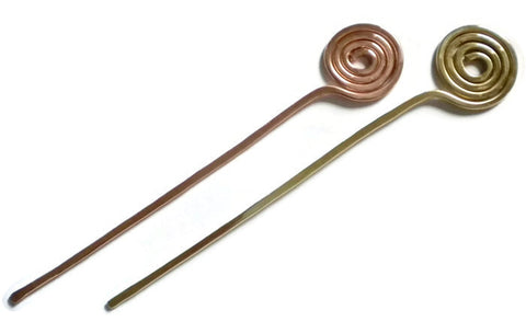 Spiral Hair Stick Brass Copper