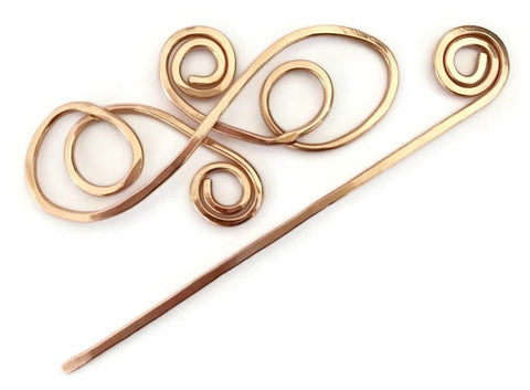Swirls Hair Barrette Copper
