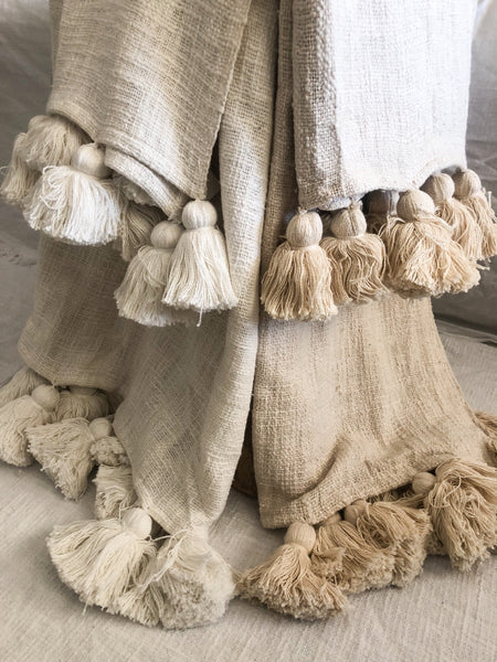 Willow & Beech Collection - Maklak Tassel Throw White