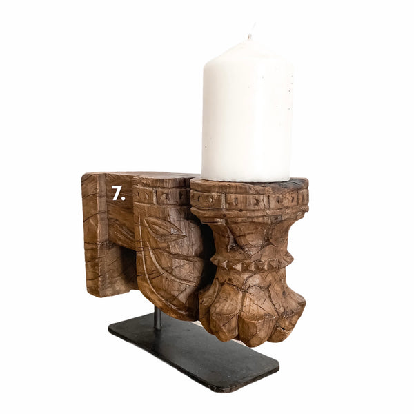 Indian Antique Candle Holder on Stand | Assorted Styles