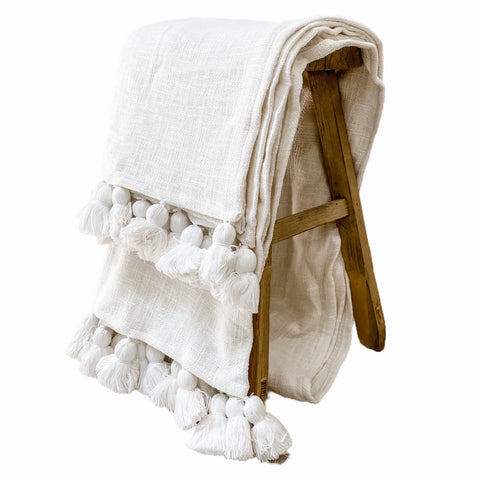 Maklak Tassel Throw | White | Willow & Beech Signature Collection