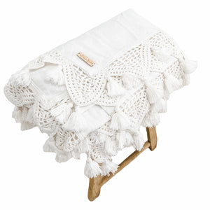 Gypsy King Size Throw Blanket  White - Willow & Beech Desert Collection