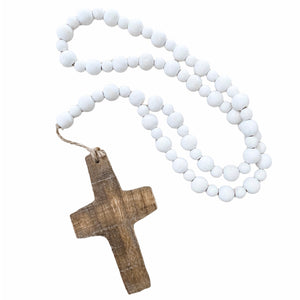 Beaded Cross Garland | White Bead