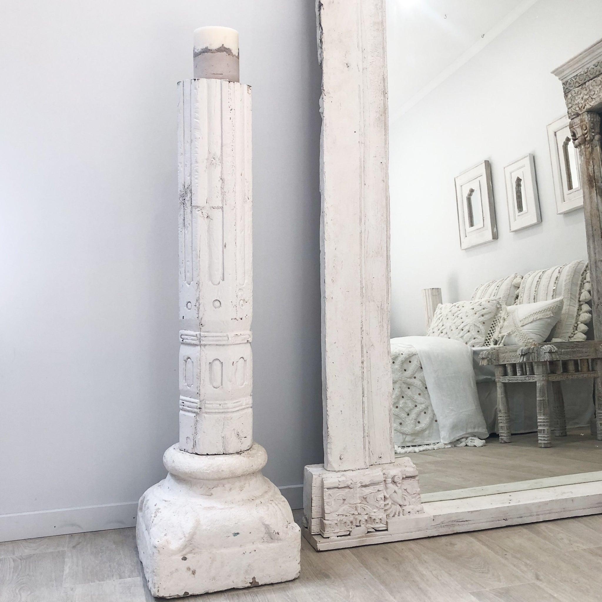 Old Indian Column - Stone Candle Base