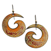 lichen enamel earrings in orange
