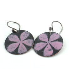 Load image into Gallery viewer, Pink and Black Floral Earrings