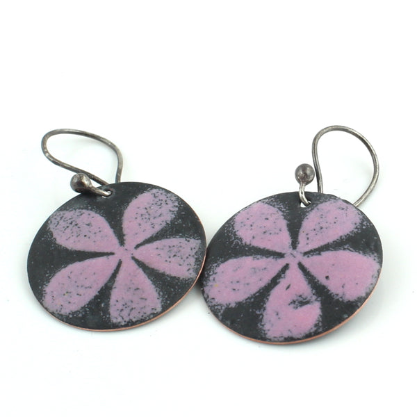 Pink and Black Floral Earrings