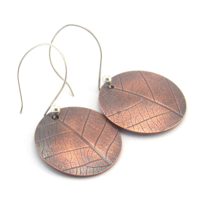 copper leaf print earrings