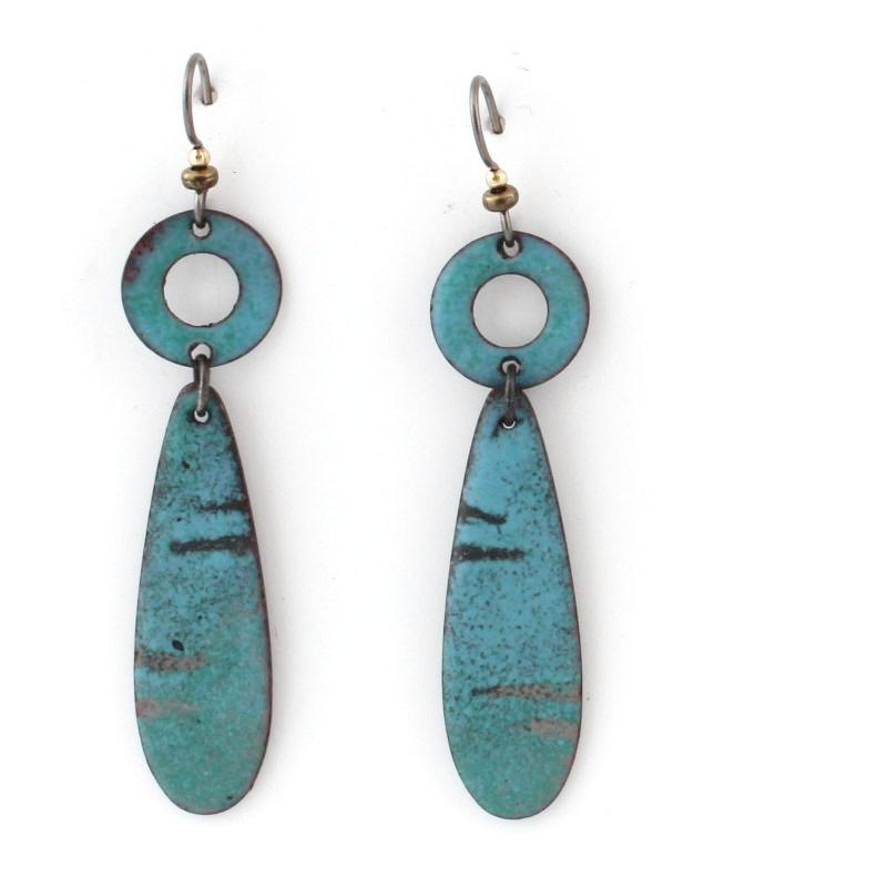 Blue Enamel Dangle Boho Earrings