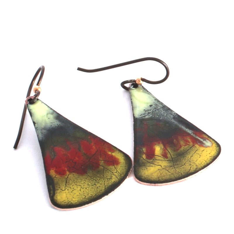 chartreuse, red and yellow earrings