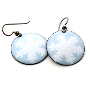 Blue snowflake enamel Earrings