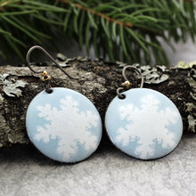 Load image into Gallery viewer,  Blue snowflake enamel Earrings with tree