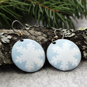 Blue snowflake enamel Earrings with tree