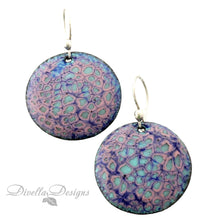 Load image into Gallery viewer, Round Boho Earrings in Blue & Tallow on sterling silver ear wires