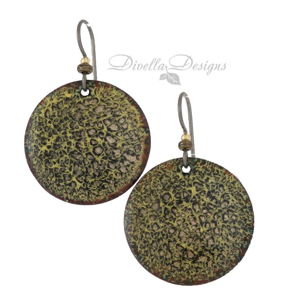 Round Lichen Boho Earrings in an  Animal Print