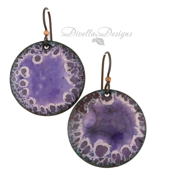 Purple Round Lichen Boho Earrings