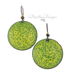 Round green and yellow boho earrings on Niobium ear wires by Divella Designs.