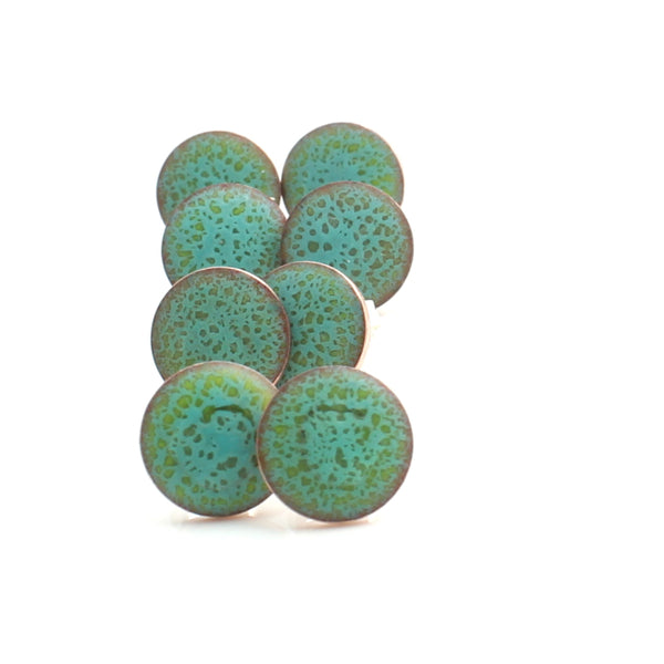 light green post earrings