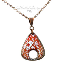 Load image into Gallery viewer, Reddish-orange and light blue rounded triangle necklace on a copper bail and chain
