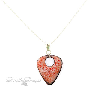pink and orange triangular enamel pendant necklace on silver chain