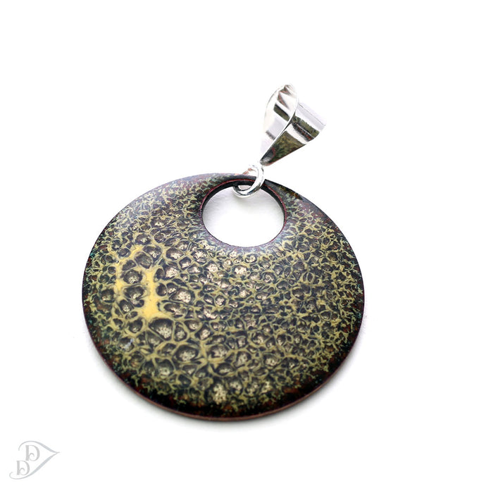 Black & Yellow Lichen Pendant with bail and chain