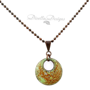 Autumn Inspired Round Necklace in green and orange