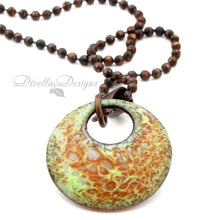 Load image into Gallery viewer, Autumn Inspired Round Necklace in green and orange