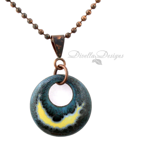 Dark blue and yellow round necklace on a copper chain