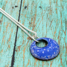 Load image into Gallery viewer, blue and purple round necklace on a sterling chain
