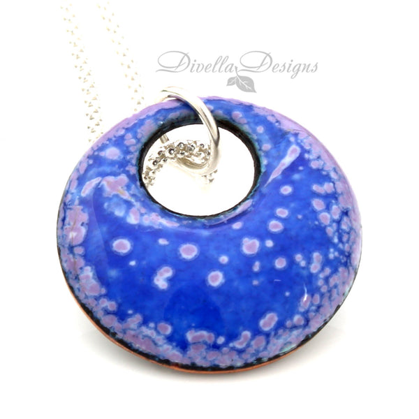 blue and purple round necklace on a sterling chain