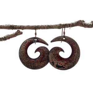 Black, Red, Brown Spiral Enamel Earrings