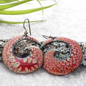 Willow, brown and red spiral earrings