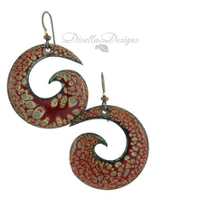 Load image into Gallery viewer, orange and red spiral boho style earrings