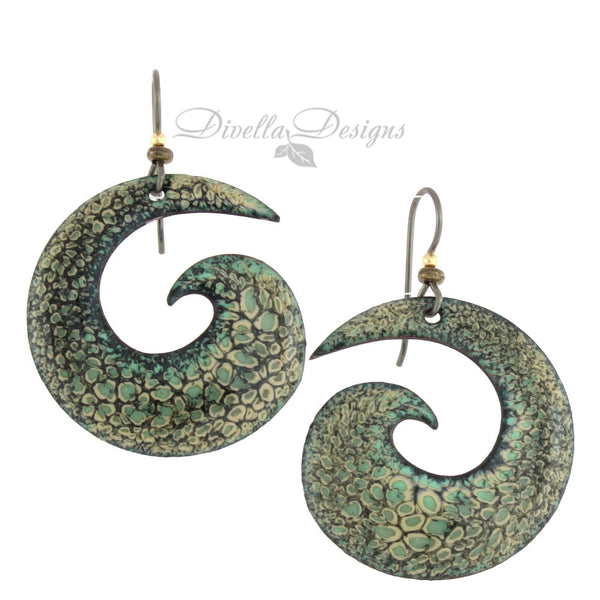 Spiral Earrings for Fall Black & Green
