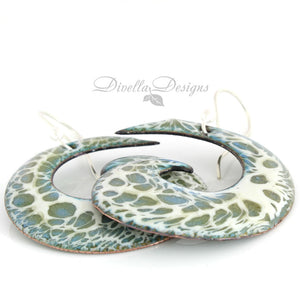 Olive and cream large spiral shaped boho earrings by Divella Designs.