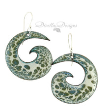 Load image into Gallery viewer, Olive and cream large spiral shaped boho earrings by Divella Designs.