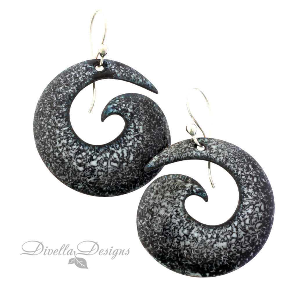 Black and white spiral shaped earrings on sterling ear wires
