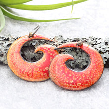 Load image into Gallery viewer, Red & Orange Spiral Enamel Earrings