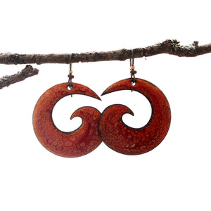 Red & Orange Spiral Enamel Earrings