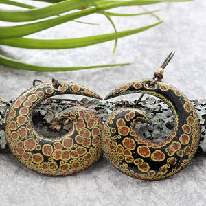 Copper, Black & Yellow Spiral Enamel Earrings