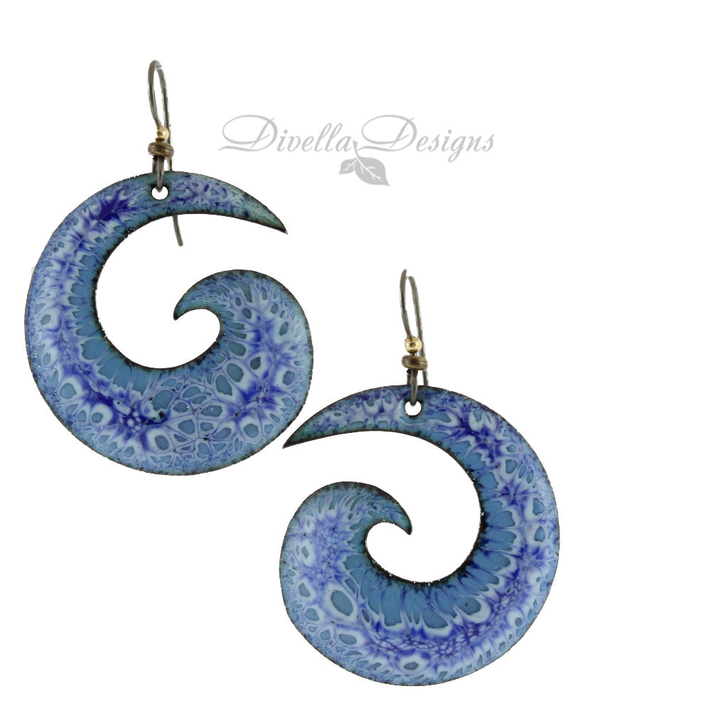Large spiral boho earrings in light and dark blues. the ear wires are niobium.