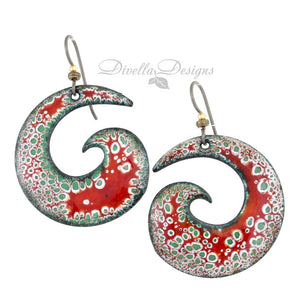red, green and white spiral boho earrings